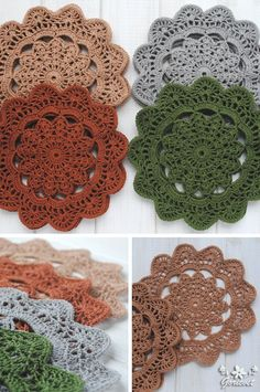 Round doily Kitchen set of 4 Crochet table decor Knitted lace doily cotton Delicate crochet napkin Holiday Christmas gift mom Hostess gift Crochet Fall Decor, Crochet Doily Rug, Crochet Doily Patterns, Crochet Patterns For Beginners, Crochet Gifts, Crochet Hooks, Knitting Patterns, Knit Rug, Christmas Gifts For Mom