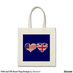USA and UK Heart Flag Design Budget Tote Bag