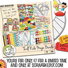 The Thrill Ride Mega Bundle is perfect for your summer time adventures at your favorite roller coaster parks with over 400MB of scrapping fun!  It includes papers, elements, alphas, styles, and word art – as well as fun photo props and yes! roller coasters! @Jen Yurko #digiscrap