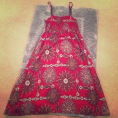 BoHo Chic Dress Brand New | Never Worn | Red Background | Creams, Blacks, & Browns | Spaghetti Strap | Stretchy Top | 100% Rayon | Trades | Feel Free to Ask Questions | More  Upon Request | Bundles & Offers are Welcomed ❤️| Xhilaration Dresses Midi