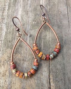 Natural Stone Copper Hoop Earrings Boho Jewelry Rust, Mustard, Sage Green Colorful Jewelry E232 by Lammergeier on Etsy https://www.etsy.com/listing/171414887/natural-stone-copper-hoop-earrings-boho