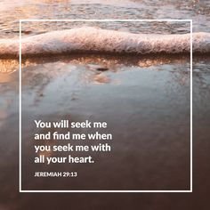 You will seek me and find me when you seek me with all your heart. -Jeremiah 29:13