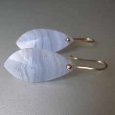 Blue Lace Agate Pointed Drops Solid 14k Gold Earrings by jenco8