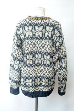 Vintage Norwegian Sweater with metal clasps// by recollectionla