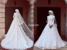 White Muslim Hijab Wedding Dresses with Long Sleeve High Neck Vintage Lace…