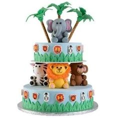 Made with woodland animals Baby shower cake