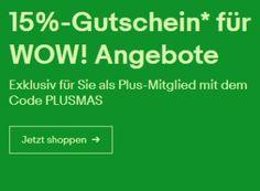 """Ebay: 15 Prozent Rabatt auf über 500 Wow-Angebote für Plus-Kunden https://www.discountfan.de/artikel/technik_und_haushalt/ebay-15-prozent-rabatt-auf-ueber-500-wow-angebote-fuer-plus-kunden.php Mehr als 500 Wow-Angebot sind jetzt wieder mit 15 Prozent Extra-Rabatt zu haben – allerdings nur für Kunden von """"Ebay Plus"""". Das Premium-Angebot kann 30 Tage kostenlos getestet werden. Ebay: 15 Prozent Wow-Rabatt für Plus-Kunden (Bild: Ebay.de) Um an die 15 Proze"""