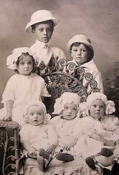 vintage studio portrait of boys and girls, 1916