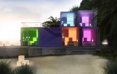 Small hotel along the Dead Sea that uses shipping container design with neon lighting.