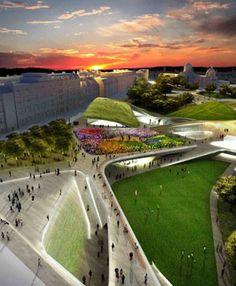 """plan for Aberdeen Scotland's city center to become a """"garden"""" (by Olin, Diller Scofidio + Renfro and KeppieDesign, via ASLA Dirt"""