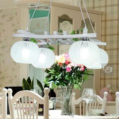 Brief rustic wool Pendant Lights 4 heads glass lighting dining table lamps Green wood and glass lamp shade pendant lamps