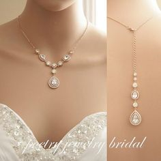 Rose Gold Bridal Back Necklace Wedding Crystal Backdrop Necklace Cubic Zirconia Rose Gold Bridal Necklace, Joni Necklace