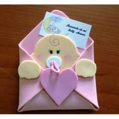 Risultati immagini per hacer invitaciones para bautizo Baby Shower Crafts, Baby Crafts, Baby Shower Parties, Felt Crafts, Baby Shower Decorations, Baby Boy Shower, Diy And Crafts, Moldes Para Baby Shower, Shower Bebe