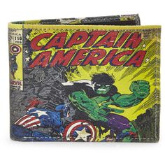 MARVEL Captain America Slimfold Wallet ($17) ❤ liked on Polyvore featuring bags, wallets, credit card holder wallet, comic book, pocket wallet, real leather bags and cartoon bags