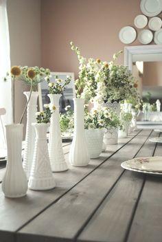 Farmhouse Table Centerpieces, Vase Centerpieces, Wedding Table Centerpieces, Bud Vases, Greenery Centerpiece, Wedding Decorations, Brainstorm, Milk Glass Vase, Glass Design