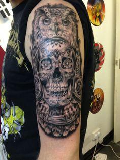 My owl and skull tattoo by Talisman Tattoo studio, York.