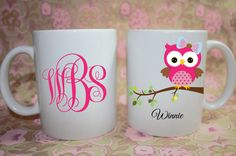 Owl on a branch Monogram  Custom personalized Mug -  - Made to Order with Free Gift Box on Etsy, $10.00