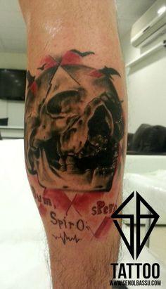 Trash polka skull tattoo work