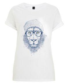 Cool lion als Frauen T-Shirt von Balázs Solti | JUNIQE