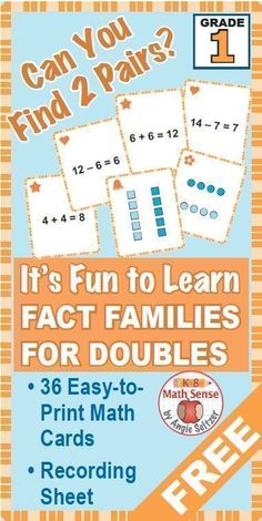 Find FREE doubles #mathcards for #Grade1 at #TpT.