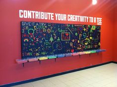 Contribute Your Creativity to a Tee by artist Danny Murphy - using colored golf tees and peg board to create! Classroom Design, Classroom Decor, Classroom Projects, Science Classroom, Interactive Walls, Library Design, Library Ideas, Teen Library, Ecole Art