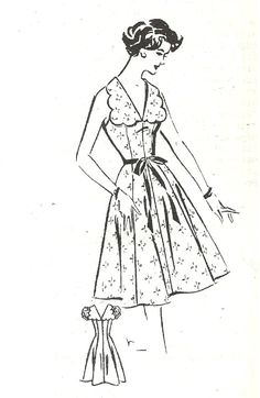 Vintage 50s Mail Order Sewing Pattern 1465 / Dress / Size 12 Bust 32