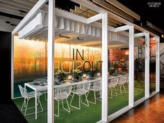 Great Design, Doing Good: DIFFA's Dining by Design | Designer: @Gensler Brand Design. Host: 3Form. Theme: 'Glass House May', a Maharam Digital Project by James Welling, was laminated onto backlit resin panels to create a garden party hosted by Philip Johnson. #interiordesign #interiordesignmagazine #design #dining #paneling #acrylic