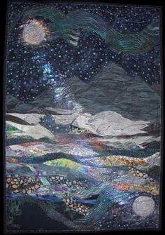 Landscape quilt so beautiful! Art Textile, Textile Artists, Quilt Art, Art Quilting, Quilting Ideas, Textiles, Landscape Art Quilts, Sewing Art, Landscape Pictures