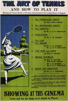 The Art of Tennis and How to Play It (Foreign) 11x17 Movie Poster (1920)