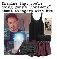 """#Imagine that you're doing Tony's ""homework"" about Avengers with him"" by xniczax ❤ liked on Polyvore featuring H&M and Casetify"