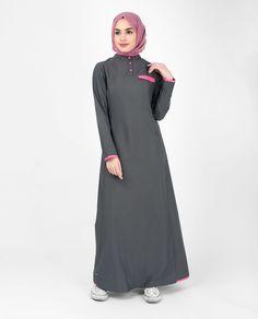 Casual Grey Jilbab With Pink Highlights, Abaya, Islamic Fashion Clothing Islamic Fashion, Muslim Fashion, Modest Fashion, Fashion Outfits, Trendy Outfits, Fashion Ideas, Womens Fashion, Hijab Evening Dress, Modele Hijab