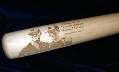 """34"""" Maple Baseball Bat Personalized w/ a  photo and wording and then a gloss lacquer finish added. Submit a request to us for your own personalized baseball bat at www.westvirginiawoodarts.com  and receive a free preview. Makes a great holiday gift for any ball player!"""