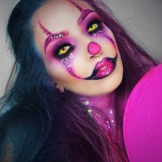 halloween clown makeup - 100 Sexy Halloween Makeup Looks That Are Creepy Yet Cute Halloween 2018, Halloween Zombie Makeup, Maquillage Halloween Clown, Unique Halloween Makeup, Halloween Looks, Unique Makeup, Natural Makeup, Halloween Makeup Glitter, Halloween Costumes Diy Scary