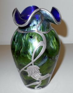 """Titania"" vase in iridescent glass and silver overlay by Loetz"