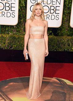 Look da atriz Kate Hudson no red carpet do Golden Globe Awards 2016