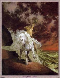 Perseus by Marc Fishman Dark Artwork, Fantasy Artwork, Fantasy Creatures, Mythical Creatures, Mythological Creatures, Roman Gods, Soul Art, Equine Art, Horse Art