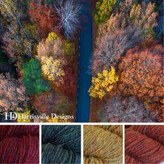 'Birds-Eye Fall View' color palette features flyWHEEL yarn in colors Barn Door, Mallard, Eastview and Monarch. #fallleaves