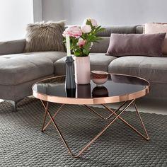 Wohnling Couchtisch WL5.248 aus Glas mit Kupfer Gestell. #Wohnzimmer #Kupfer #Glas #Modern #Design #Dekoration