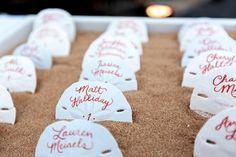 Beach #Wedding Ideas - Sand Dollar Escort Cards