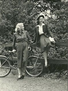 1940s women's fashions: trousers, vest and long skirts