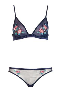Floral Embroidered Bra and Knickers - Lingerie - Clothing