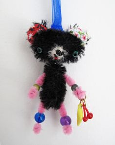 """Bananas! from my first """"dancing bears"""" update.. super tiny mohair bear necklace w/ wobble head, chinelle limbs, fruit snack."""