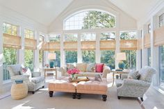 Sunroom Decorating and Design Ideas. Get inspired with clever layout and pretty fabrics, furniture, and accents to transform your sunroom into the most-used room in your house. Tags: sunroom design ideas, sunroom furniture, floor to ceiling windows Home Living, My Living Room, Living Spaces, Cottage Living, Country Living, Luxury Living, Living Area, Modern Country, French Country