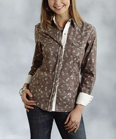 Another great find on #zulily! Brown Floral Button-Up - Women & Plus by Roper #zulilyfinds