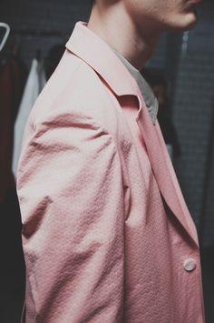 Textured pink blazers at Lou Dalton SS15 London Collections: Men. More images here: http://www.dazeddigital.com/fashion/article/20296/1/lou-dalton-ss15