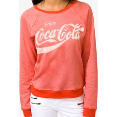 Forever 21 Women's  Enjoy Coca-Cola Sweatshirt (€12) ❤ liked on Polyvore featuring tops, hoodies, sweatshirts, sweaters, shirts, raglan sweatshirt, graphic shirts, long sleeve sweatshirt, raglan sleeve sweatshirt and red sweatshirt