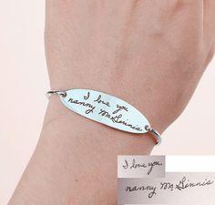 Silver Handwriting BraceletActual Signature by SpecialGiftForU
