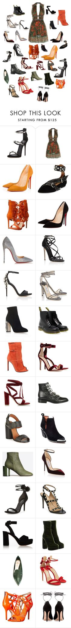 """What to chose?"" by nicolinewinding ❤ liked on Polyvore featuring Giuseppe Zanotti, Valentino, Isabel Marant, GUESS, Christian Louboutin, Dolce&Gabbana, Jimmy Choo, Dr. Martens, Gucci and Gianvito Rossi"