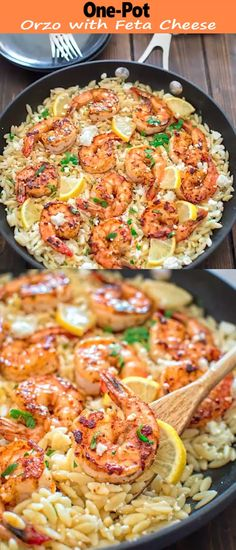 easy to make, yet unbelievably delicious, this One Pot Orzo with Shrimp and Feta is worthy of a special occasion!Very easy to make, yet unbelievably delicious, this One Pot Orzo with Shrimp and Feta is worthy of a special occasion! Fish Recipes, Seafood Recipes, Dinner Recipes, Cooking Recipes, Healthy Recipes, Recipes With Cooked Shrimp, Seafood Appetizers, Meatless Recipes, Greek Recipes