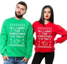 45eb35119 Christmas Couples Sweaters, Ugly Christmas Sweater,All I Want For Christmas  Is You, Funny Christmas Matching Sweaters, Couples Sweater